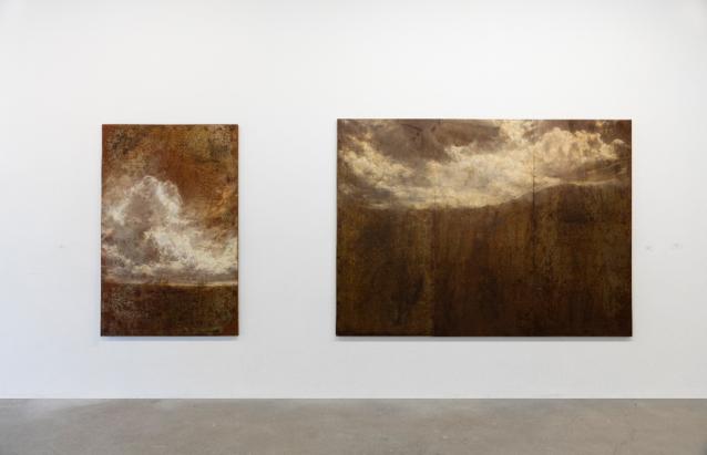Soldan sağa: Grain II, Çelik üzerine Yağlı boya, 100 x 160 cm, 2016, Oya, Çelij üzerine Yağlı boya, 225 x 115 cm, 2016