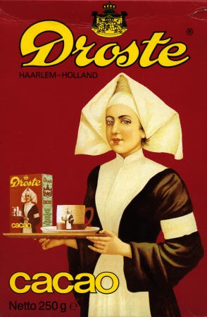 """Resimaltı yazısı: """"Droste firmasının 1904 yılında piyasaya sürdüğü kakao paketi tasarımı"""""""