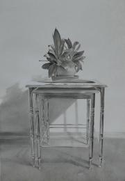 İç içe geçmiş, Kağıt üzerine suluboya / Watercolor on paper 76 x 52 cm, 2018